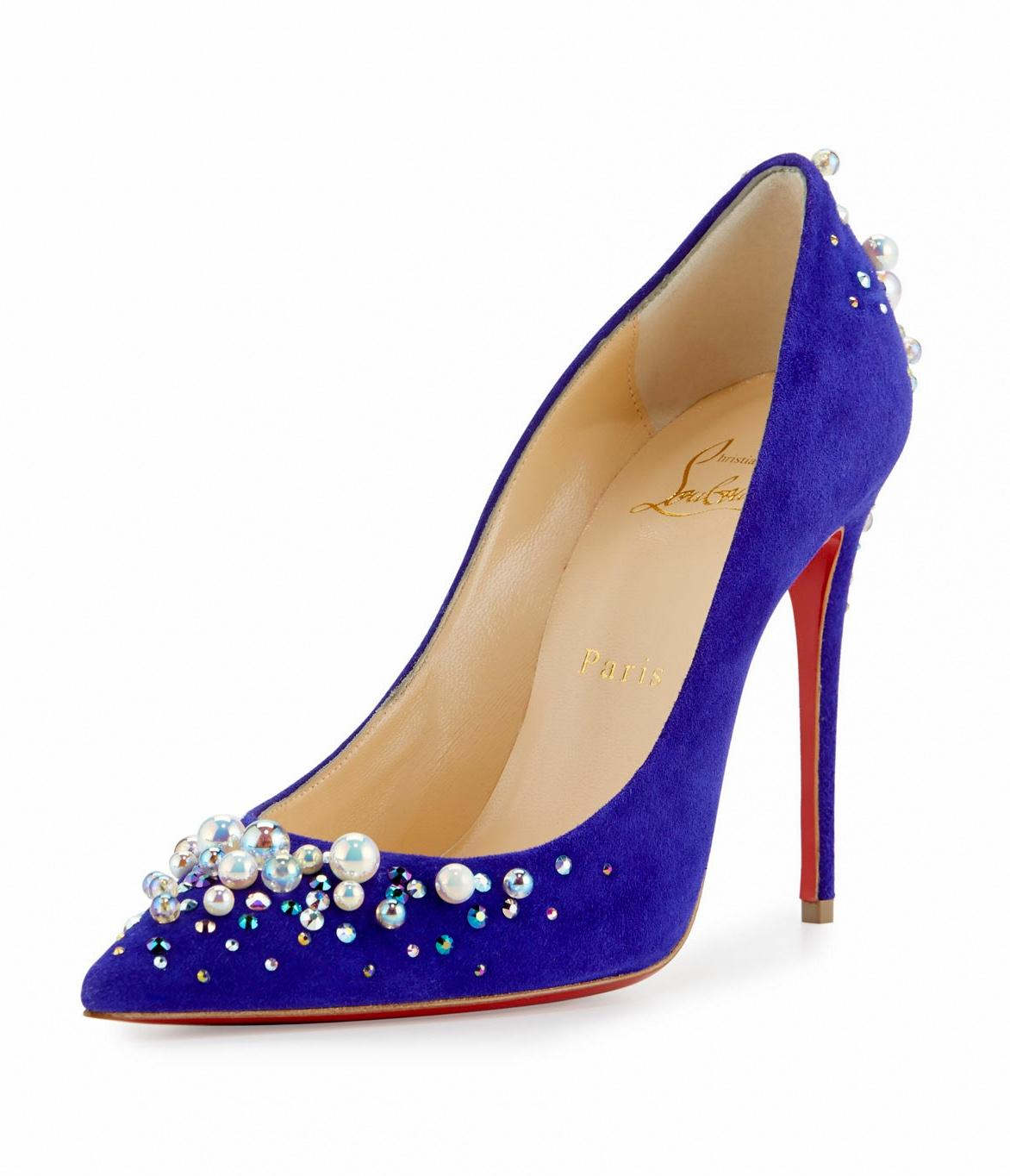 Christian Louboutin Blue Candidate Purple Pop Pearly-embellished Suede Red Sole Pumps Size EU 39 (Approx. US 9) Regular (M, B)