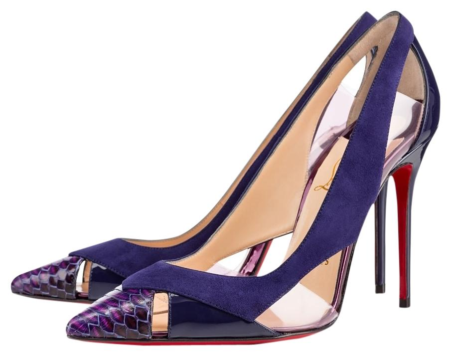 ef9b72198703 ... discount code for christian louboutin suede snakeskin blue pumps 871d0  b6e79