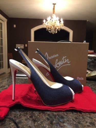 Christian Louboutin Blue Private Number 120 Mm Denim White Pumps Size US 10