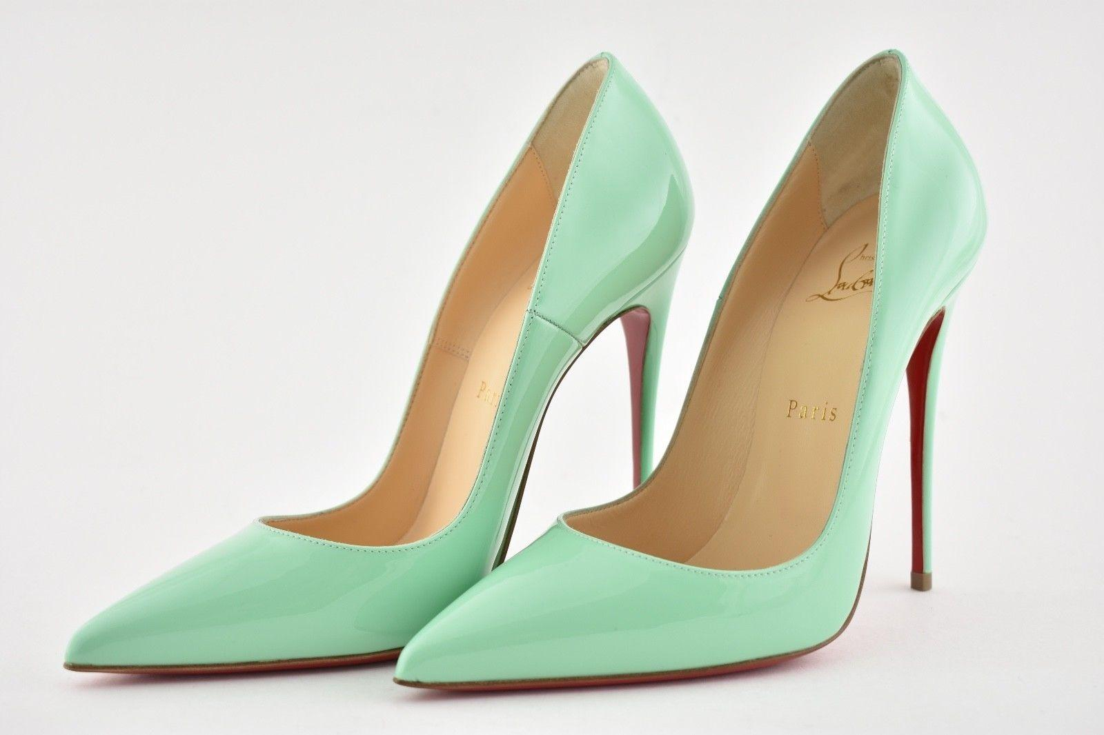 69b6982f44eb ... Gentleman Lady   Christian Louboutin Blue So Kate 120 Opal Opal Opal  Green Patent Leather ...