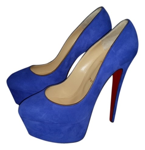 outlet store 83a14 b492c Christian Louboutin Blue Victoria 160mm Suede Platforms Size ...