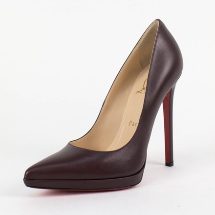 Christian Louboutin Patent Leather Round Toe Stiletto Brown Pumps