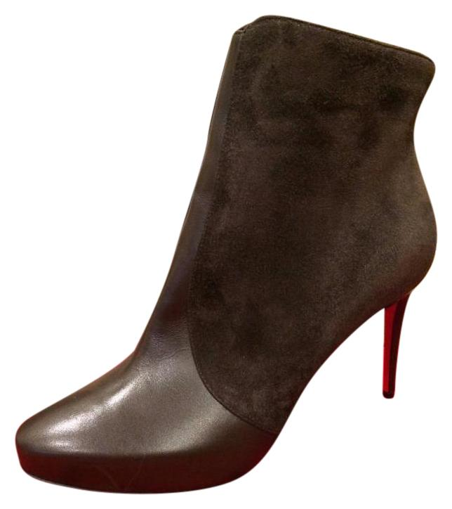 Christian Louboutin Brown Gaetanina 85 Suede Ankle 37.5 Boots/Booties Size US 7.5