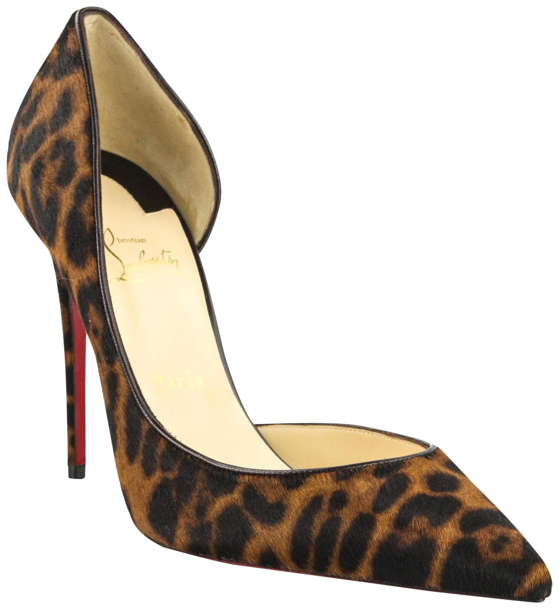 f72654a83a32 Christian Christian Christian Louboutin Brown Iriza 100 Pony Dark  Leopard Kid Pumps Size EU 41 (Approx. US 11) Regular (M
