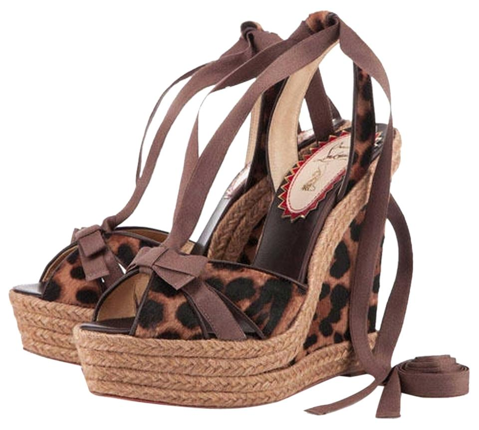 Christian Louboutin Browns Isabelle 20ans Leopard Print Hair Espadrille Rope 41 Wedges Size US 10 Regular (M, B)