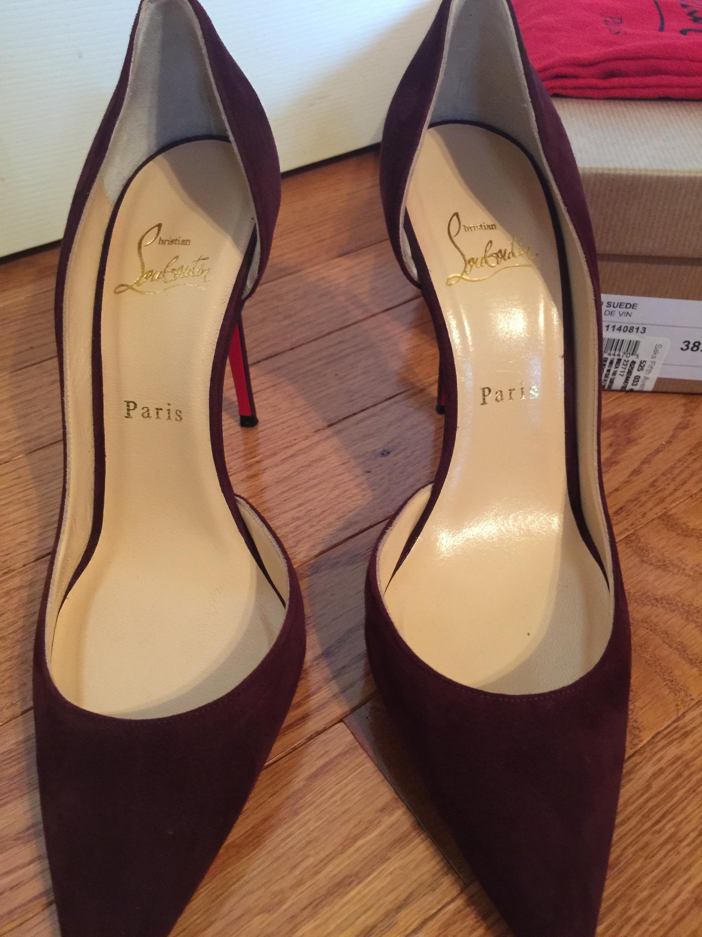 898e1bf5661f ... Christian Louboutin Burgundy Classic Iriza 100mm Suede Pumps Size US US  US 8 dc0c68 ...