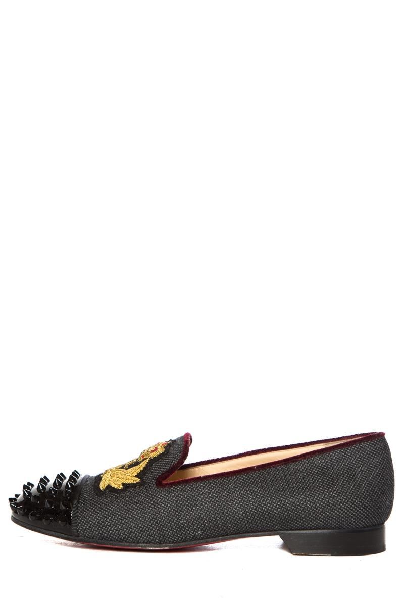 Christian Louboutin Charcoal Woven Round-toe Loafers Flats Size EU 39.5 (Approx. US 9.5) Narrow (Aa, N)