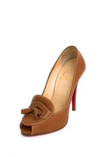 Christian Louboutin Leather Alta 120 Loafer Heel Sandal 636 Brown Pumps