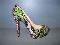 Christian Louboutin Bianca 140 Python Multi-Color Pumps