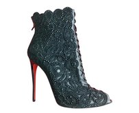 Christian Louboutin Crystals Mesh Bootie Black Boots