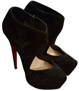 Christian Louboutin Donue Suede Red Sole Platform Stiletto Pointed Toe Open Front Black Boots