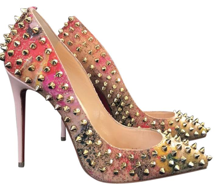 Christian Louboutin Follies Spikes Cork Blooming Beige Gold Multi Color Stiletto 36 Pumps Size US 6 Regular (M, B)