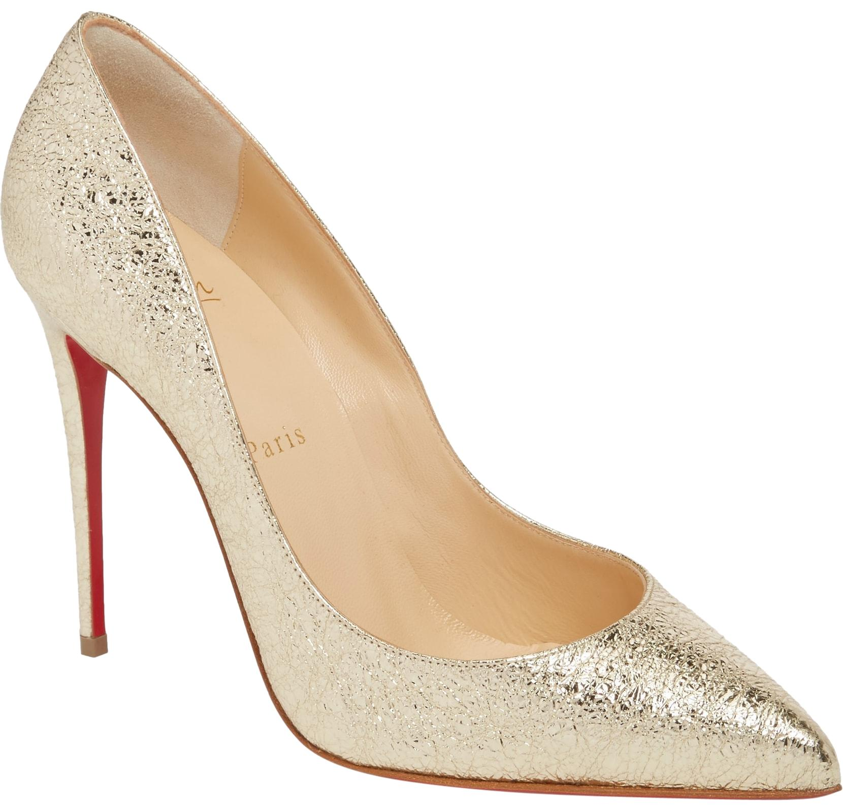 Christian Louboutin Gold Classic Pigalle Follies Platine 100mm Metallic Leather Point-toe Pumps Size EU 38 (Approx. US 8) Regular (M, B)