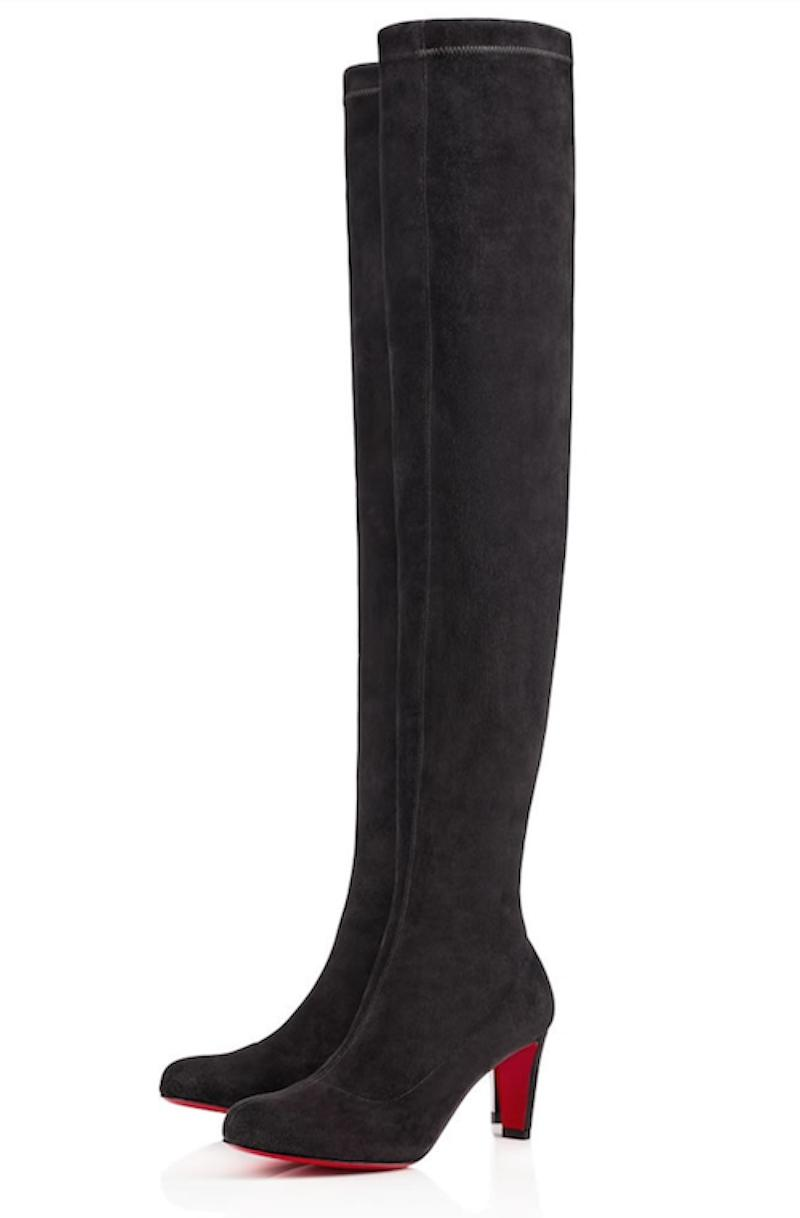 Christian Louboutin Grey Alta Top 70 Fusain Suede Stretchy Thigh High Over Knee Tall Boots/Booties Size EU 39.5 (Approx. US 9.5) Regular (M, B)