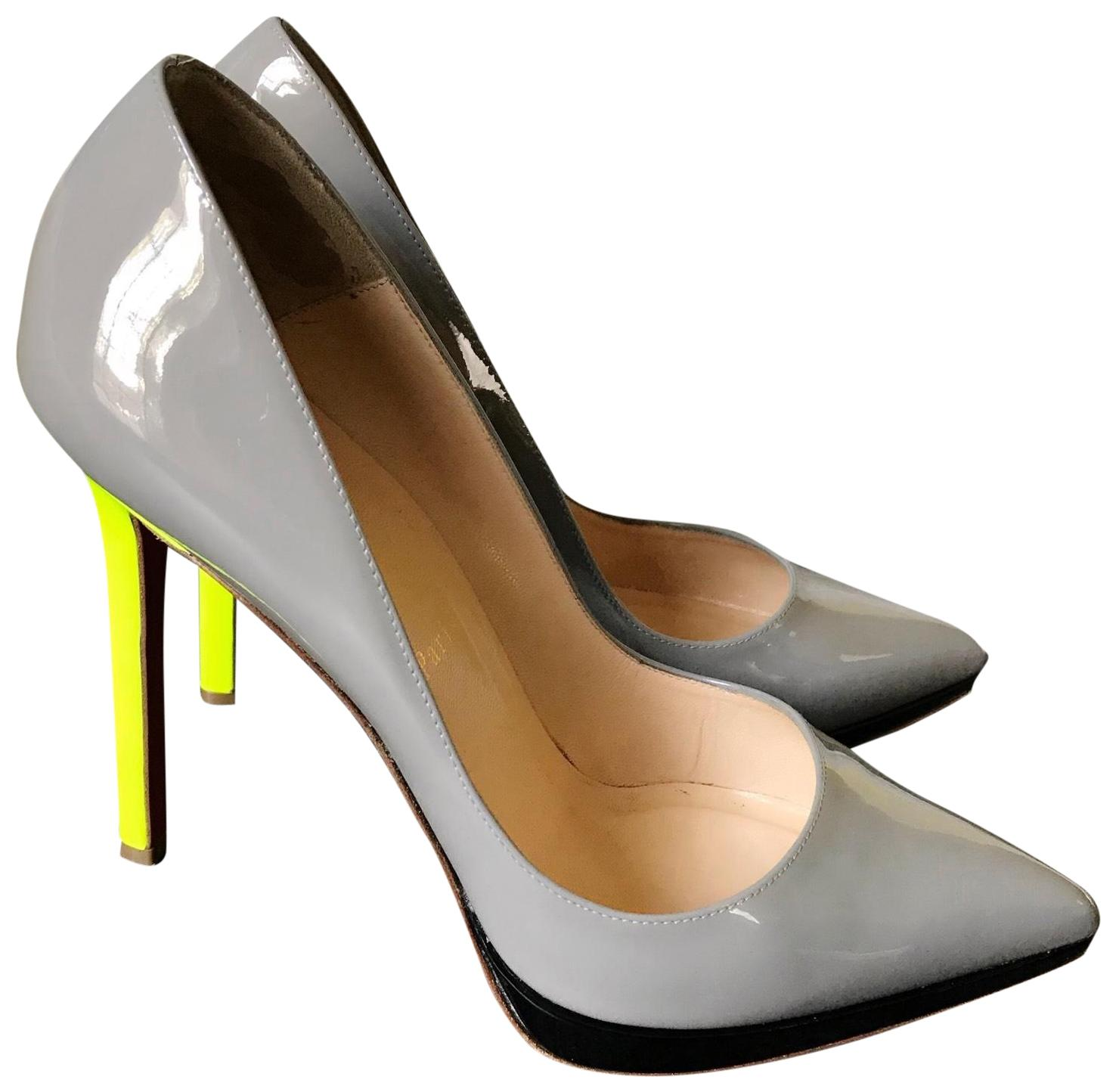Christian Louboutin Grey & Black Patent Pigalle Plato 120mm Florescent Matte Pumps Size US 9 Regular (M, B)