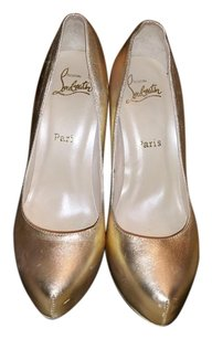 Christian Louboutin Leather Rolanda Metallic Gold Pumps