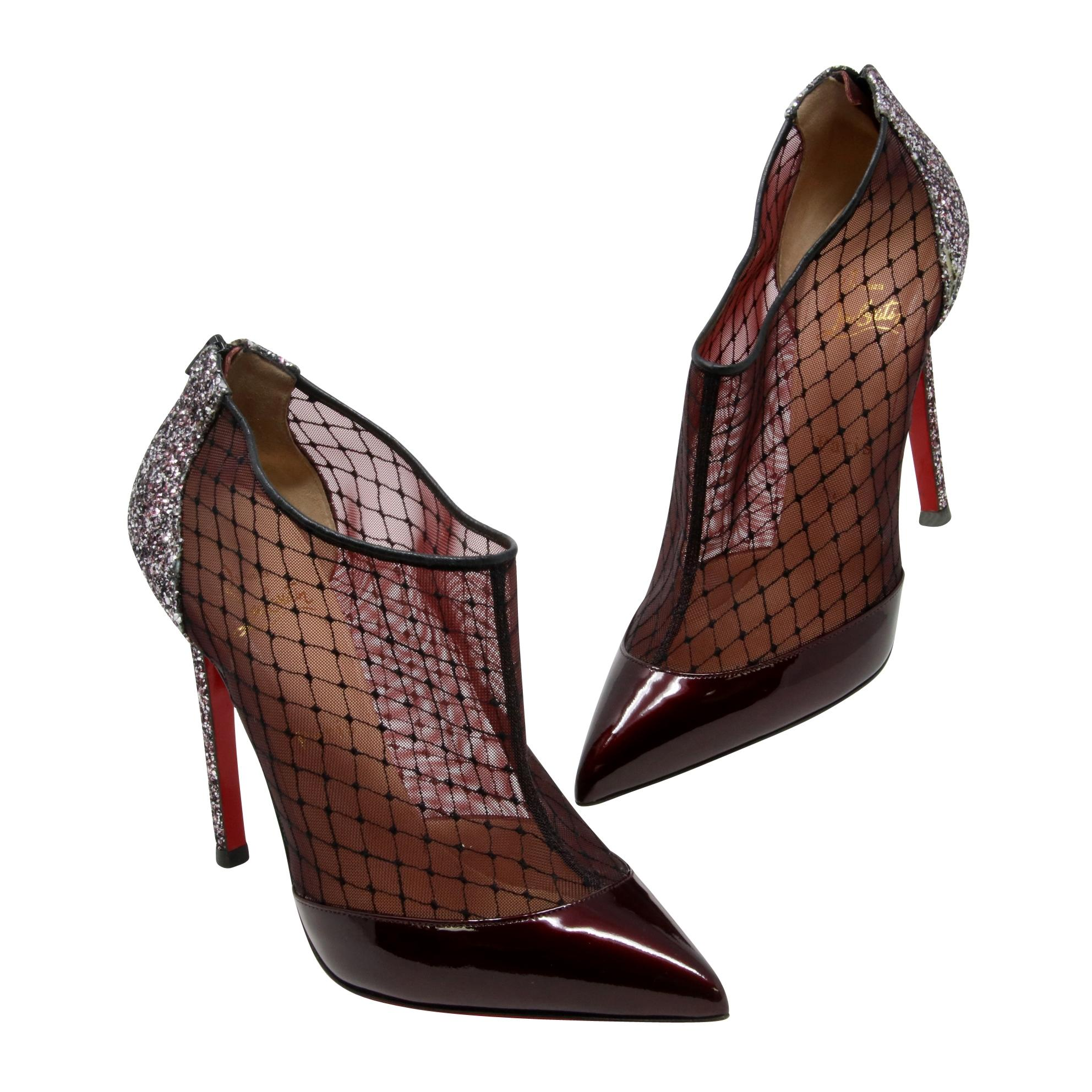 56ffc9d57da Christian Louboutin Multicolor Burgundy Fillette Patent Leather Mesh Mesh  Mesh Net Glitter-heel Pointed Toe 39.5 Boots Booties Size US 9.5 Regular  (M