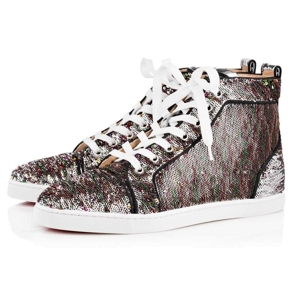 Christian Louboutin Multicolor Classic Mermaid Sequin Embellished Bip-bip High Top Sneakers Trainers Sneakers Size EU 37 (Approx. US 7) Regular (M, B)