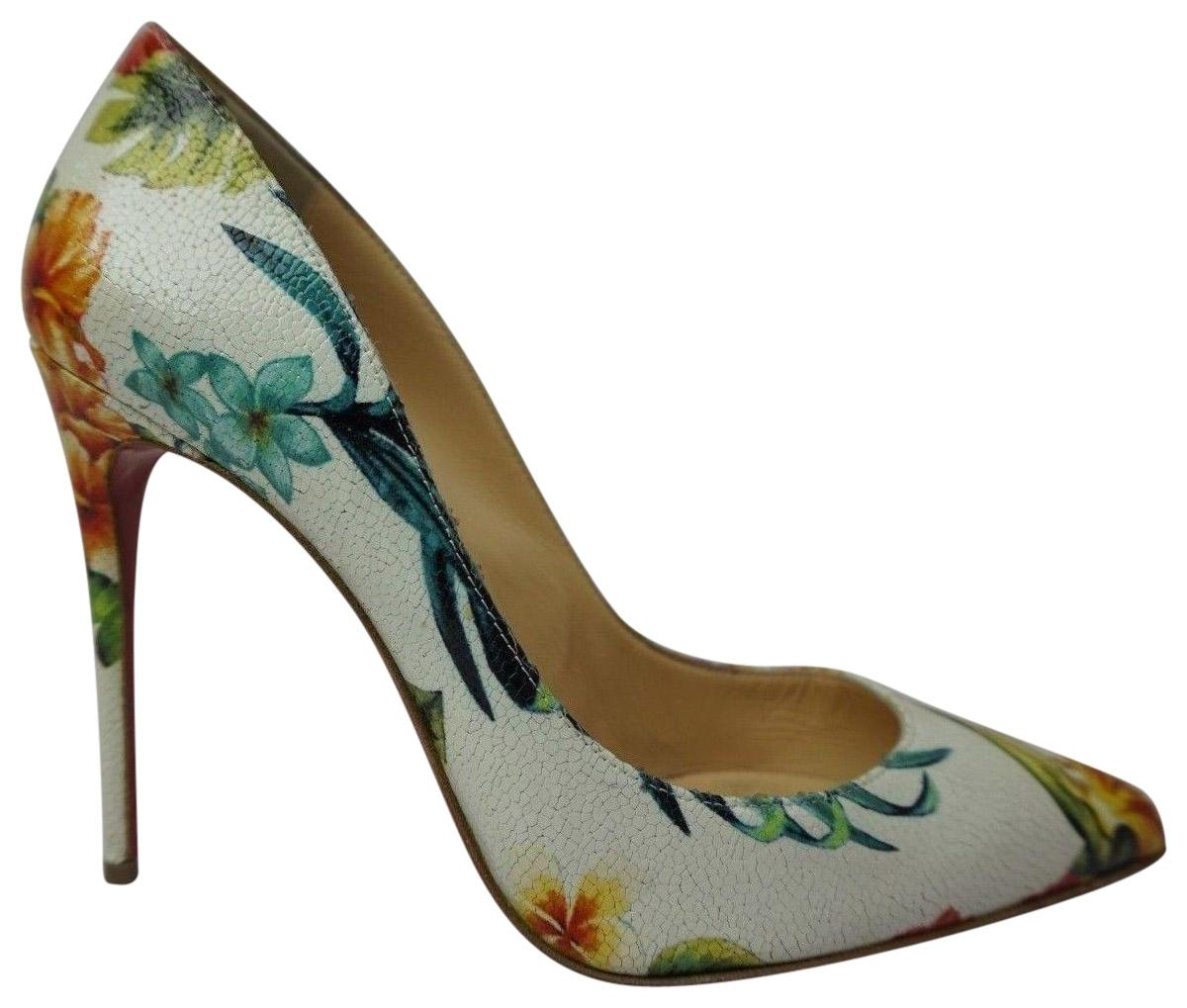 Christian Louboutin Multicolor Floral Embossed Leather Pigalle White Heels Pumps Size EU 39 (Approx. US 9) Regular (M, B)