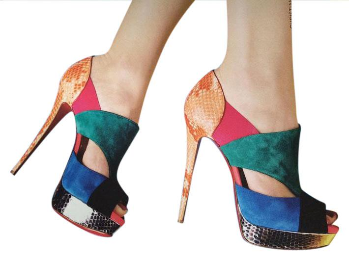Christian Louboutin Multicolor Pitou 150 Suede Python Cutout Heels Pumps Booties 37.5 Platforms Size US 7.5
