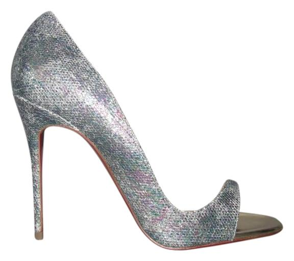 Christian Louboutin Multicolor Toboggan 100 Glittered Leather 38 Sandals Size US 8 Regular (M, B)