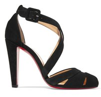 Christian Louboutin New Suede Cutout Ankle Strap Classic Black Pumps