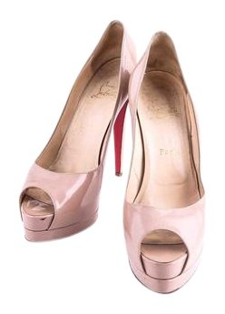 Christian Louboutin New Very Prive Patent Leather Peep Nude Pumps Size US 10 Regular (M, B)