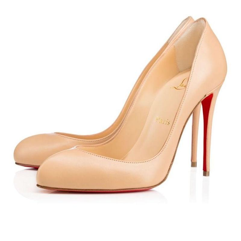 Christian Louboutin Nude Breche 100 Doudou Beige Leather Heel Pumps Size EU 38.5 (Approx. US 8.5) Regular (M, B)