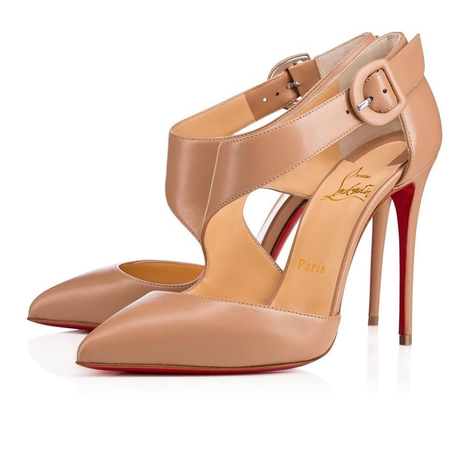 Christian Louboutin Nude Classic Sharpeta 100mm Nappa Leather Buckle Point-toe Pumps Size EU 38.5 (Approx. US 8.5) Regular (M, B)