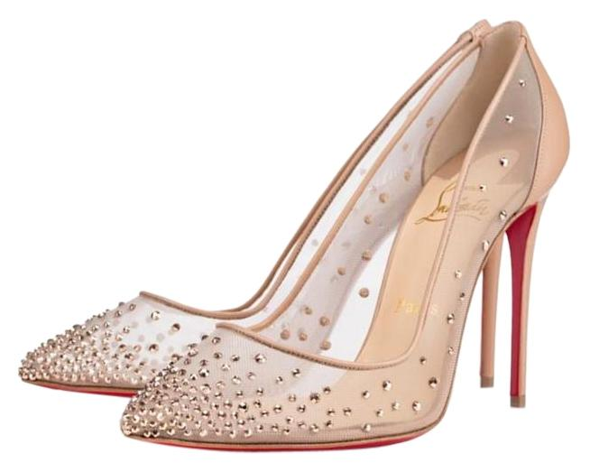 0026d0f02b421f ... coupon code for christian louboutin embellished mesh glitter swarovski  nude crystal embellished follies strass pumps 68838