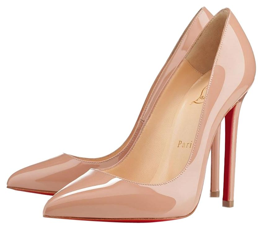 Christian Louboutin Nude Or Beige Pigalle 100 Patent Pumps Size US 9.5