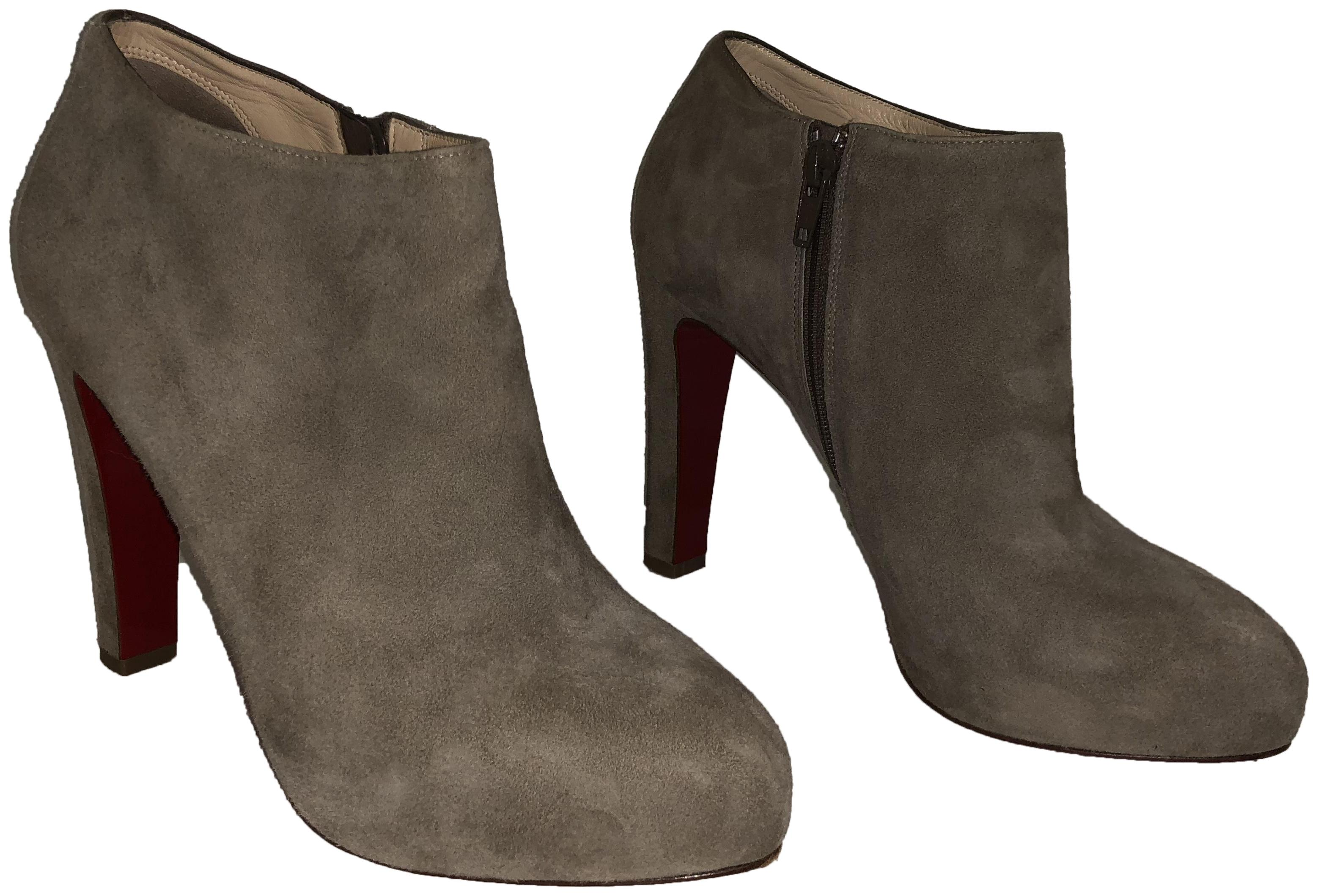 4739b2f7dc6d Christian Christian Christian Louboutin Oyster Vicky 120 Suede Boots Booties  Size EU 39 (Approx