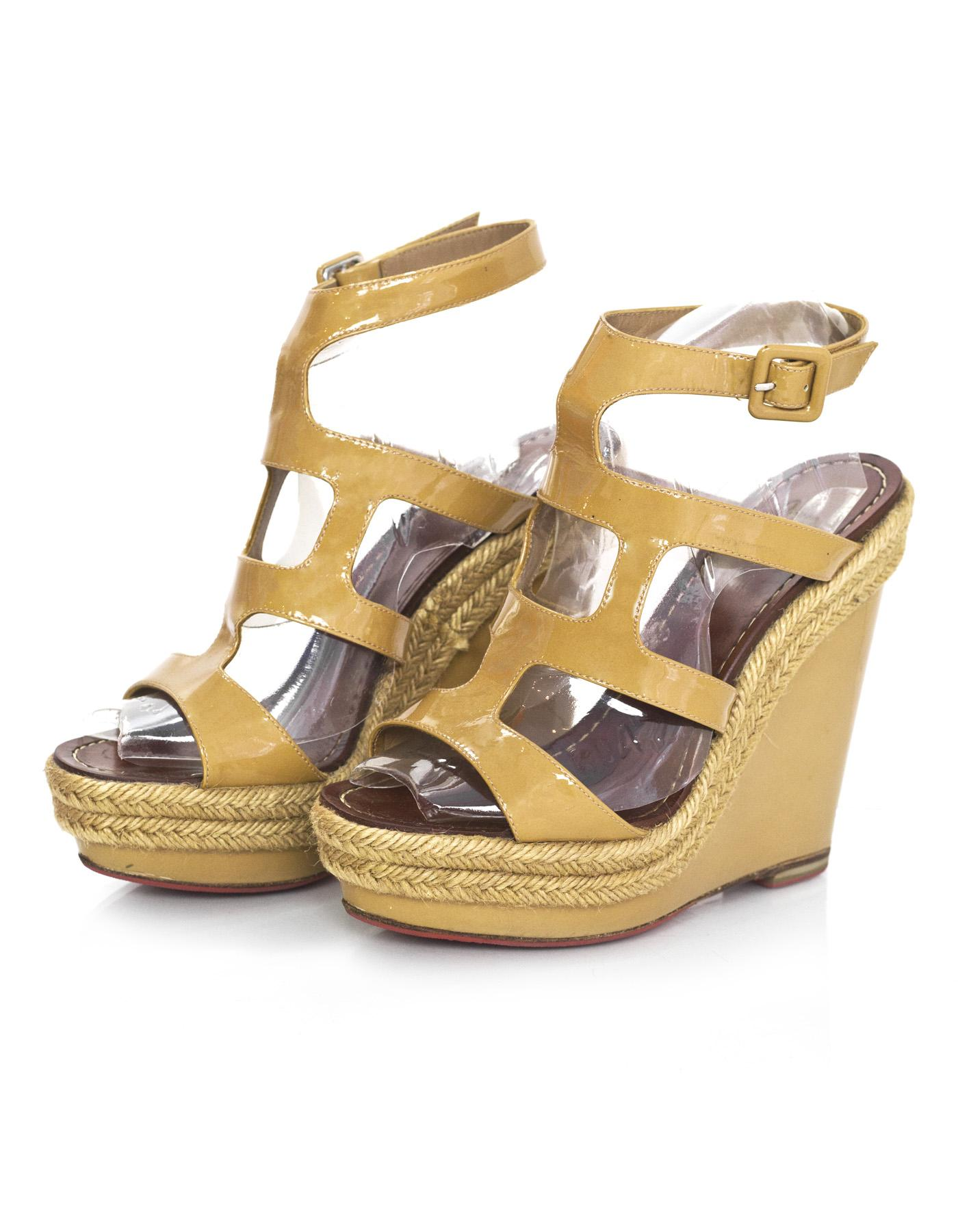 cheap very cheap clearance online Christian Louboutin Caged Leather Wedges discount authentic online best seller iGvahXve