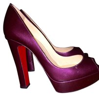 Christian Louboutin Peep Toe Hidden Platform Purple Pumps