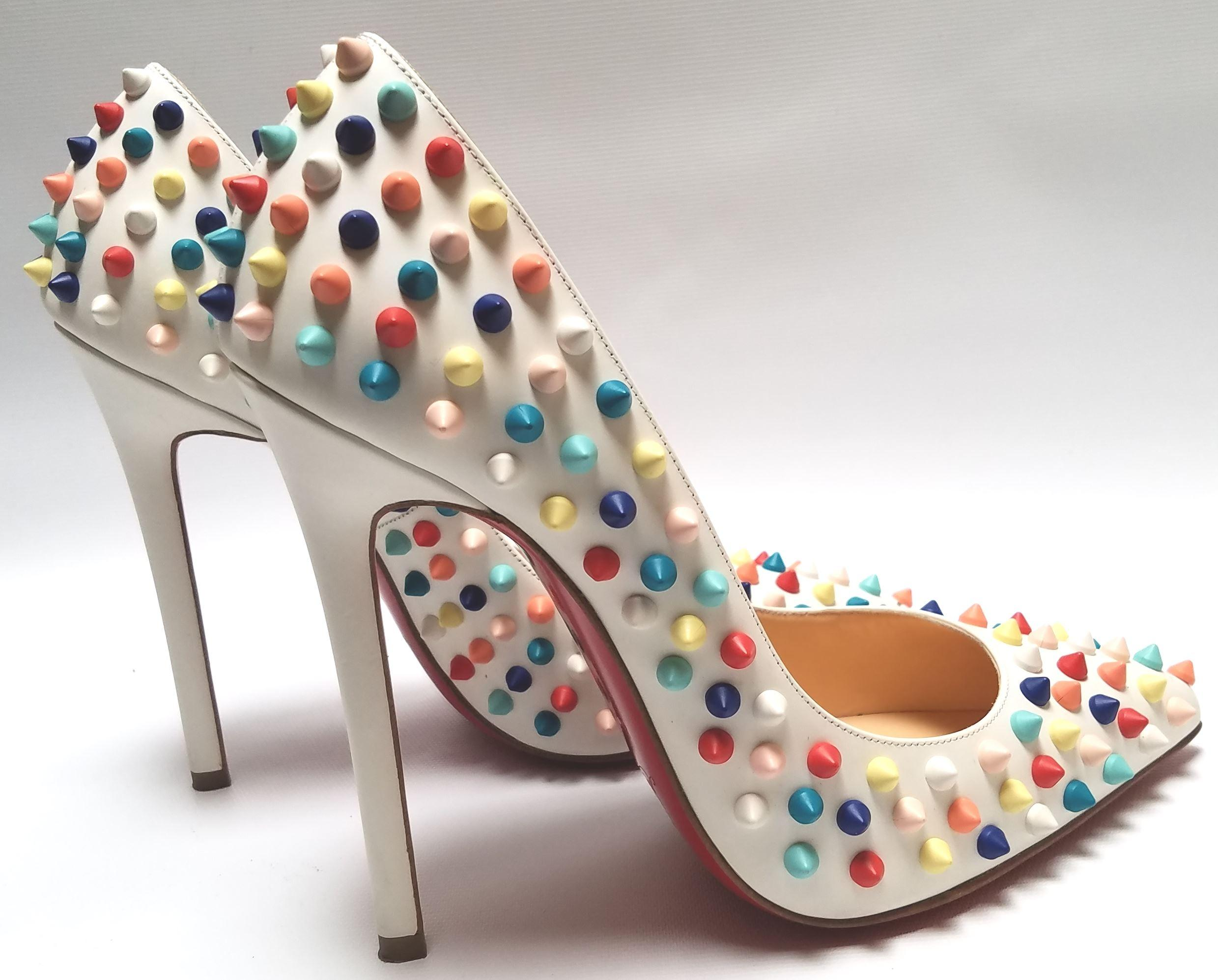 christian louboutin pigalle spikes red sole pump white multi