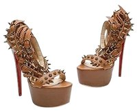 Christian Louboutin Leather Botticellita Spiked Size 9us Tan Sandals