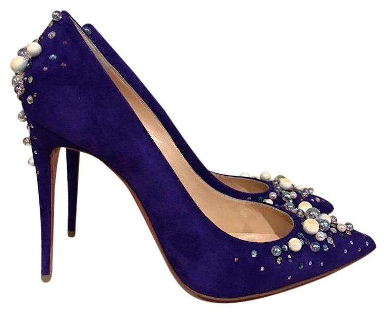 Best Seller Sale Online Buy Cheap Nicekicks Candidate 100 purple suede embellished pump Christian Louboutin mYYI54vNT