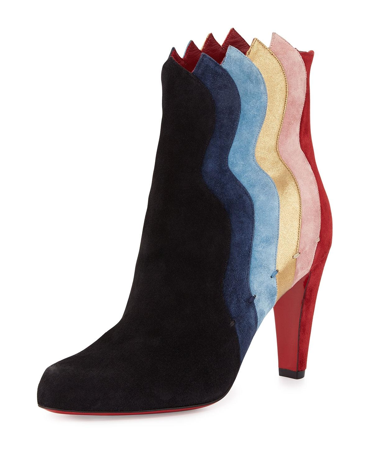 Christian Louboutin Red Black Blue Gold Pink Wavy Colorblock Suede Sole Black/Multi Boots/Booties Size EU 40 (Approx. US 10) Regular (M, B)