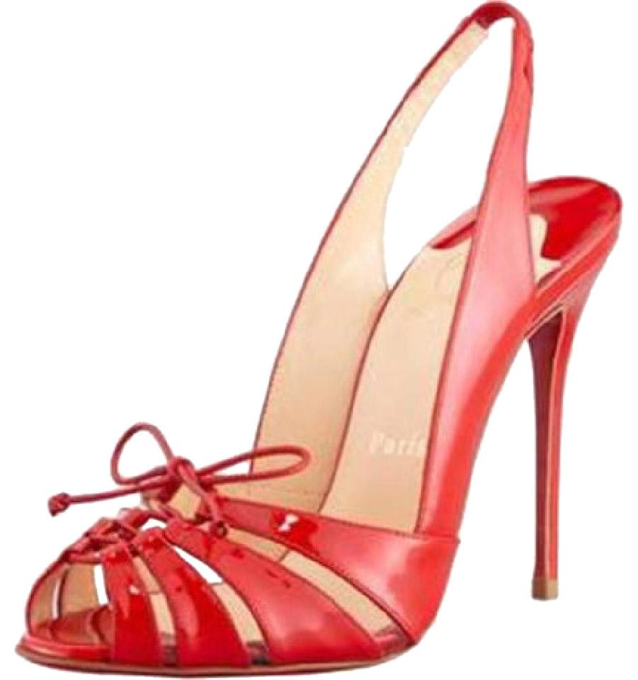 Christian Louboutin Red Corsetica Patent Leather Pvc Sling ...