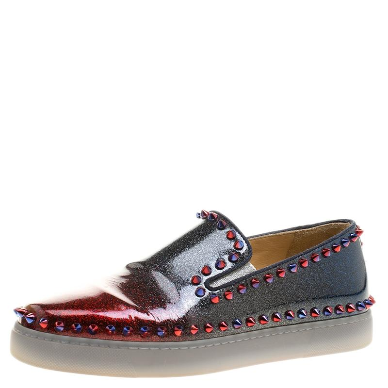6fd9dce132f7 Christian Louboutin Red Ombrè Glitter Glitter Glitter Patent Leather Spike  Pik Boat Slip On Sneakers Flats Size EU 37.5 (Approx. US 7.5) Regular (M
