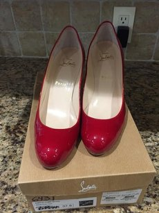 Christian Louboutin Round Toe Leather Padded Red Pumps