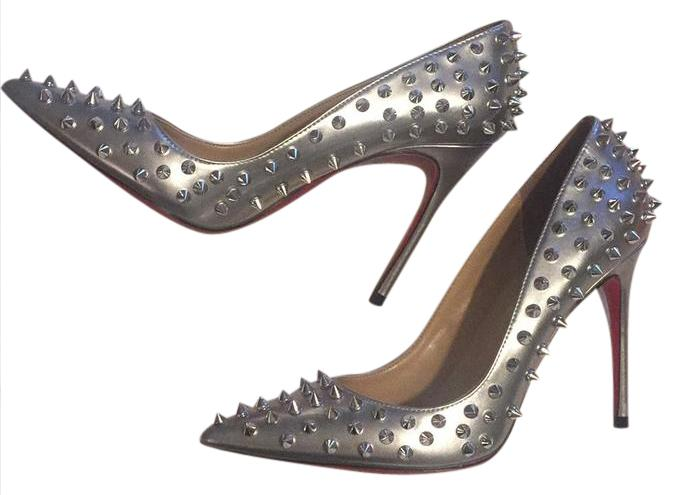 3ee5c00f2ee Christian Louboutin Silver and Spikes Are Silver Follies 100mm Pumps Pumps  Pumps Size US 6.5 Regular