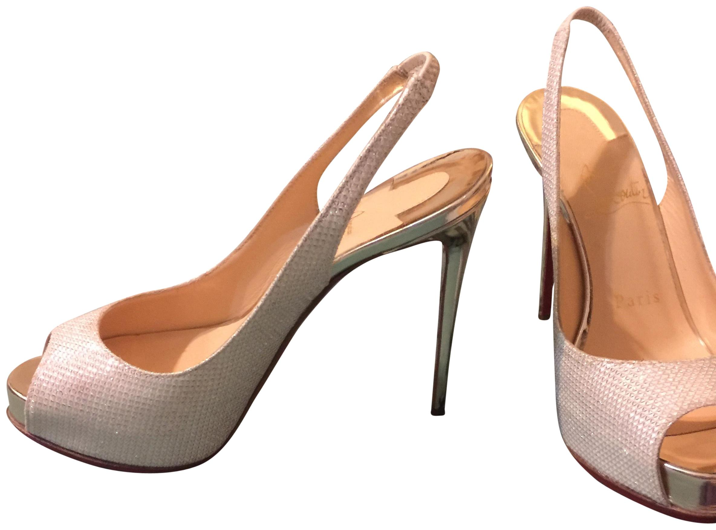 Christian Louboutin Silver New Prive Formal Shoes Size EU 34 (Approx. US 4) Regular (M, B)