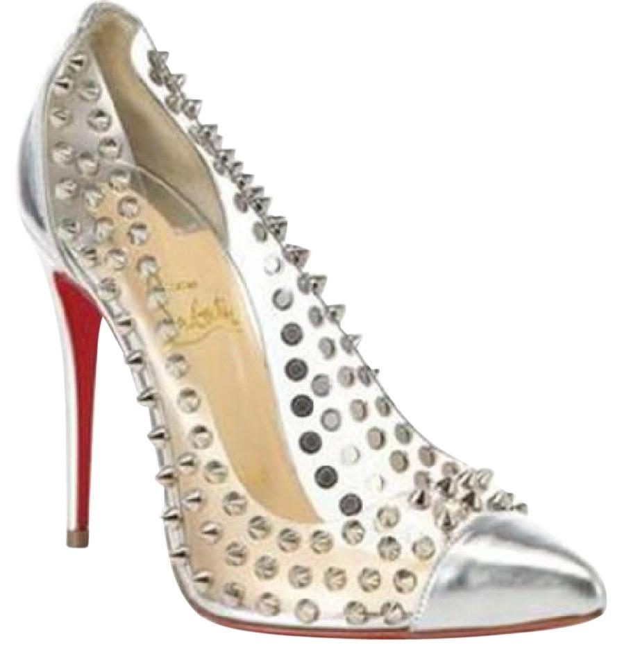 Christian Louboutin Silver Spike Me Metallic Pvc Clear Studded Pumps Size US 6