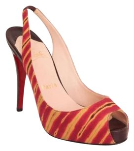 Christian Louboutin Womens Slingback High Heel Multi-Color Pumps