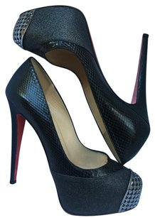 Christian Louboutin Snakeskin Black and glitter Platforms