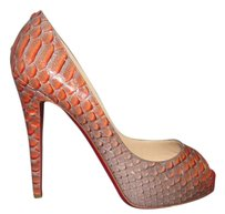 Christian Louboutin Snakeskin Hidden Platform Python Degrade 120mm Mandarin Red Pumps