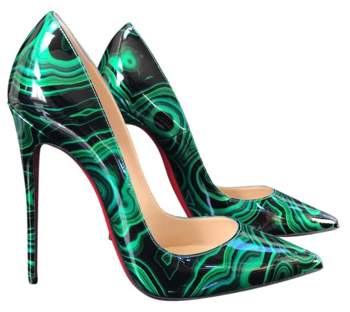 fa5770e9a93d Gentlemen Ladies-Christian Louboutin So Kate Malachite Emerald Green Black  Black Black Patent Stiletto 38 Pumps Size US 8 Regular (M