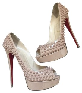 Christian Louboutin Studded Red Bottom Nude Platforms