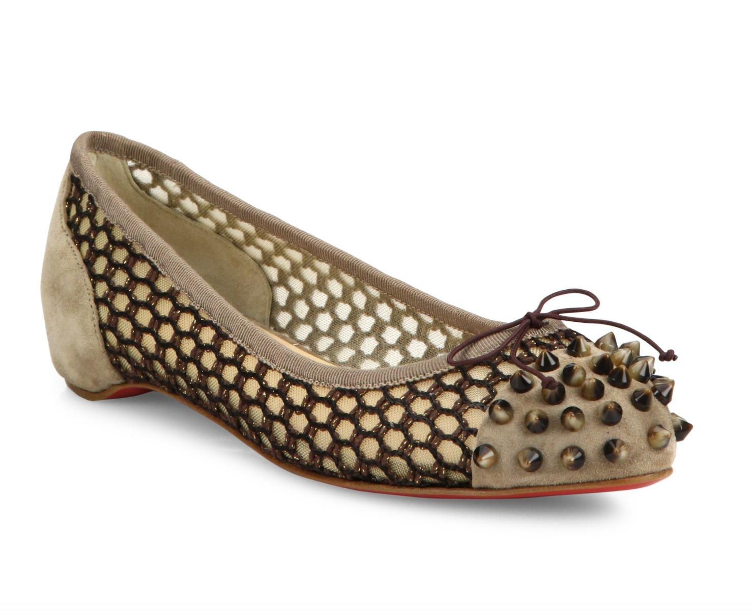 Christian Louboutin Tan Mix Brown Spike Mesh Round A261 Flats Size EU 39 (Approx. US 9) Regular (M, B)